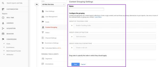 Google Analytics Content Groupings